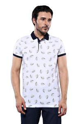 Desenli Beyaz Polo Yaka T-shirt | Wessi - Thumbnail