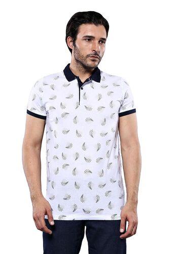 Desenli Beyaz Polo Yaka T-shirt | Wessi