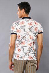 Polo Yaka Çiçek Desenli T-shirt | Wessi - Thumbnail