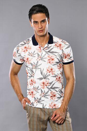Polo Yaka Çiçek Desenli T-shirt | Wessi