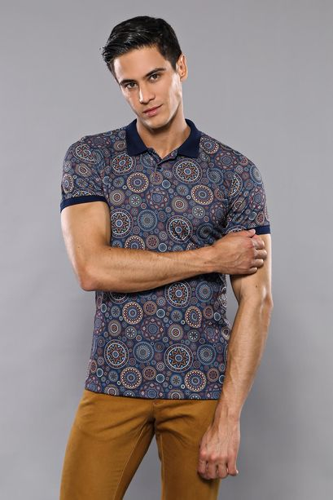 Polo Yaka Desenli Lacivert T-shirt | Wessi