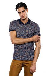 Polo Yaka Desenli Lacivert T-shirt | Wessi - Thumbnail