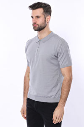 Polo Yaka Düz Gri Örme T-shirt | Wessi - Thumbnail