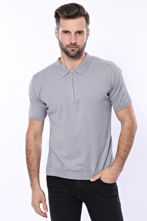 Polo Yaka Düz Gri Örme T-shirt | Wessi