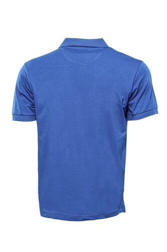 Polo Yaka Düz Mavi T-shirt | Wessi