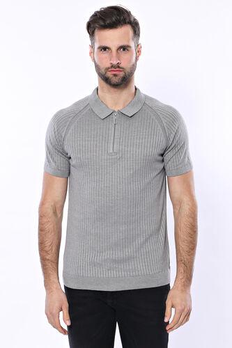 Polo Yaka Fermuarlı Örme Gri T-shirt | Wessi