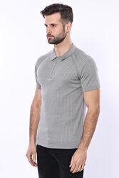 Polo Yaka Fermuarlı Örme Gri T-shirt | Wessi - Thumbnail
