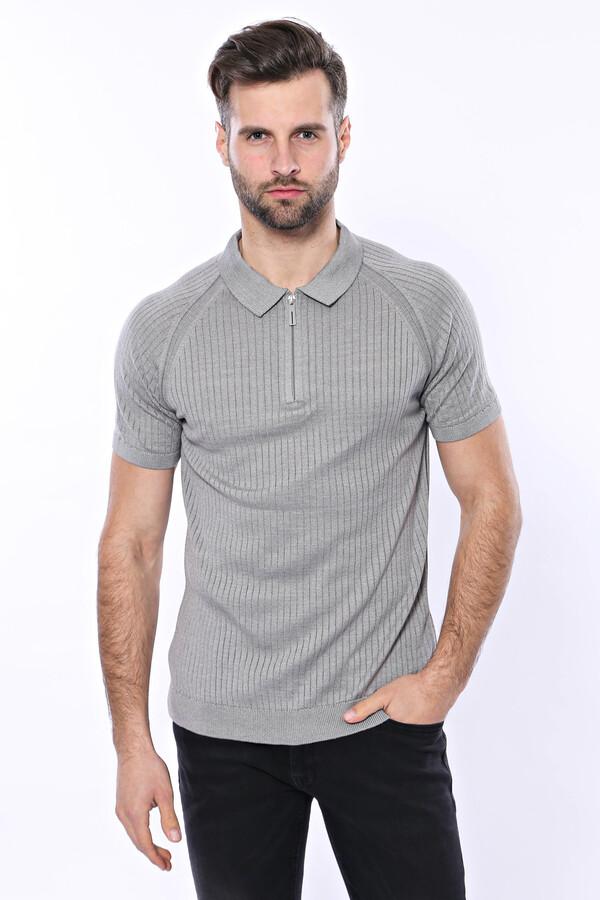 Polo Yaka Fermuarlı Örme Gri T-shirt   Wessi