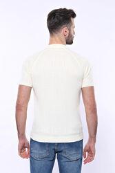 Polo Yaka Fermuarlı Krem Örme T-shirt   Wessi - Thumbnail