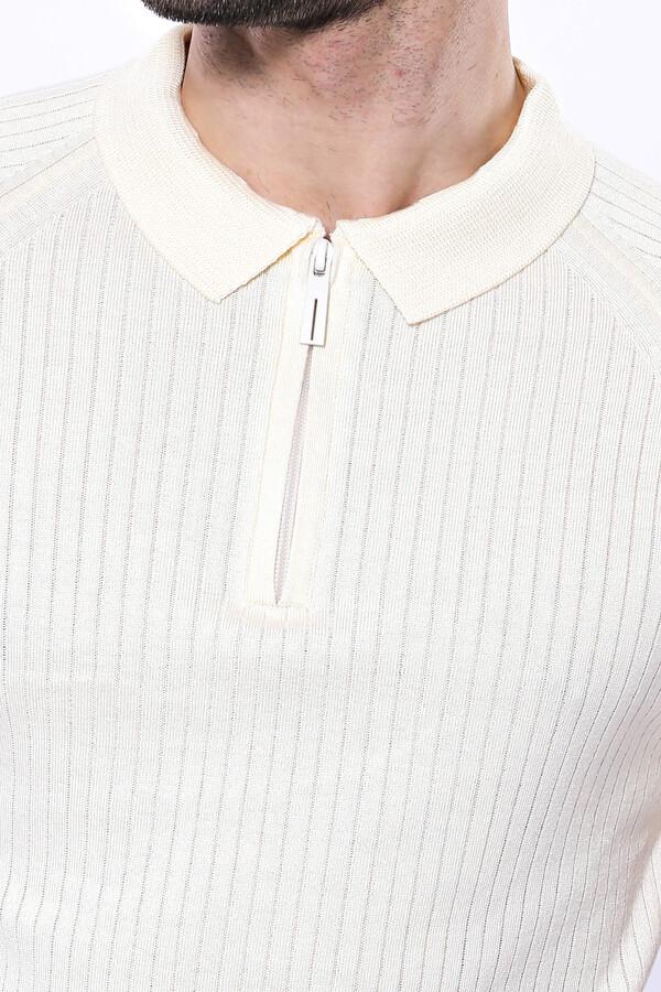 Polo Yaka Fermuarlı Krem Örme T-shirt   Wessi