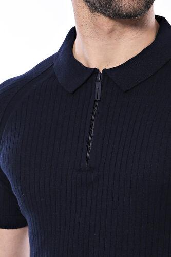 Polo Yaka Fermuarlı Lacivert Örme T-shirt | Wessi
