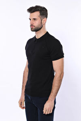 Polo Yaka Fermuarlı Siyah Örme T-shirt | Wessi - Thumbnail