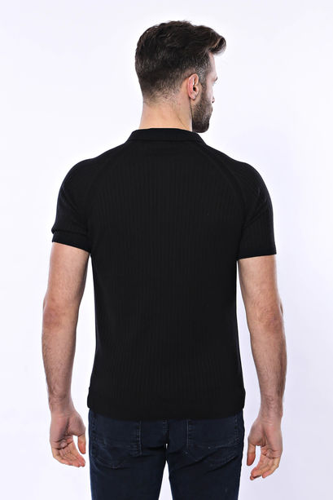 Polo Yaka Fermuarlı Siyah Örme T-shirt | Wessi