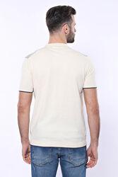 Polo Yaka Krem Desenli Fermuarlı Örme T-shirt   Wessi - Thumbnail