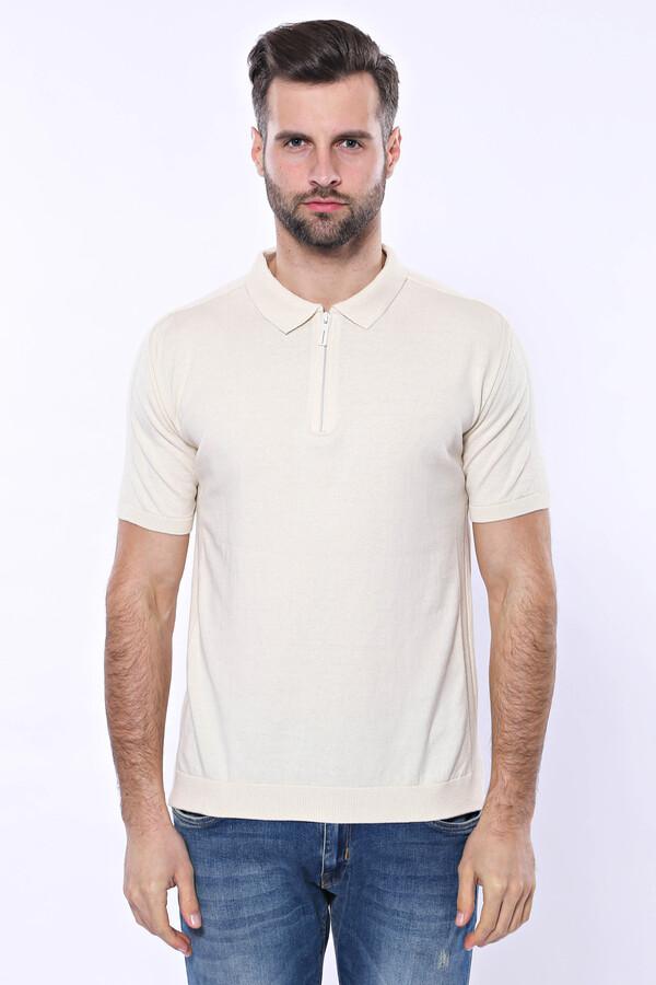 Polo Yaka Krem Düz Örme T-shirt | Wessi