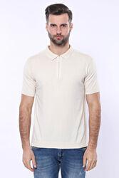 Polo Yaka Krem Düz Örme T-shirt | Wessi - Thumbnail