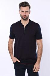 Polo Yaka Koyu Lacivert Desenli Fermuarlı Örme T-shirt | Wessi - Thumbnail
