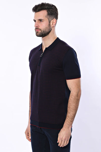 Polo Yaka Koyu Lacivert Desenli Fermuarlı Örme T-shirt | Wessi
