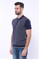 Polo Yaka Lacivert Desenli Fermuarlı Örme T-shirt | Wessi - Thumbnail