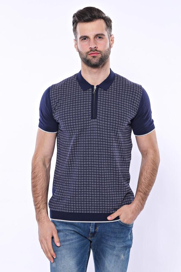Polo Yaka Lacivert Desenli Fermuarlı Örme T-shirt | Wessi