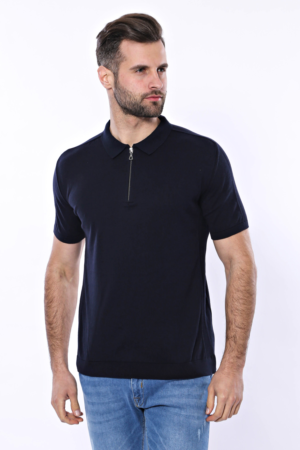 Polo Yaka Lacivert Düz Örme T-shirt | Wessi