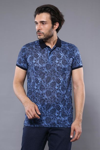 Çiçek Desenli Mavi Polo Yaka T-shirt   Wessi