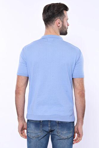 Polo Yaka Mavi Düz Örme T-shirt | Wessi