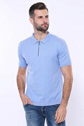 Polo Yaka Mavi Düz Örme T-shirt | Wessi - Thumbnail