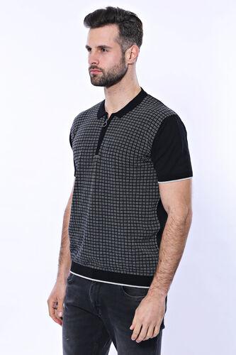 Polo Yaka Siyah Desenli Fermuarlı Örme T-shirt | Wessi