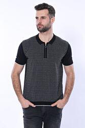 Polo Yaka Siyah Desenli Fermuarlı Örme T-shirt | Wessi - Thumbnail