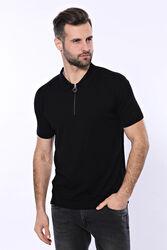 Polo Yaka Siyah Düz Örme T-shirt | Wessi - Thumbnail
