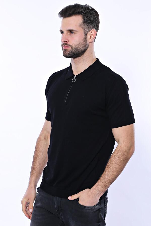 Polo Yaka Siyah Düz Örme T-shirt | Wessi
