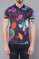 Polo Yaka Yaprak Desenli T-shirt   Wessi - Thumbnail