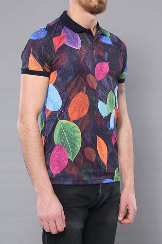 Polo Yaka Yaprak Desenli T-shirt   Wessi