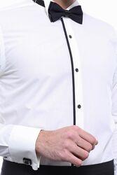 Uzun Kollu Krem Damatlık Gömlek | Wessi - Thumbnail