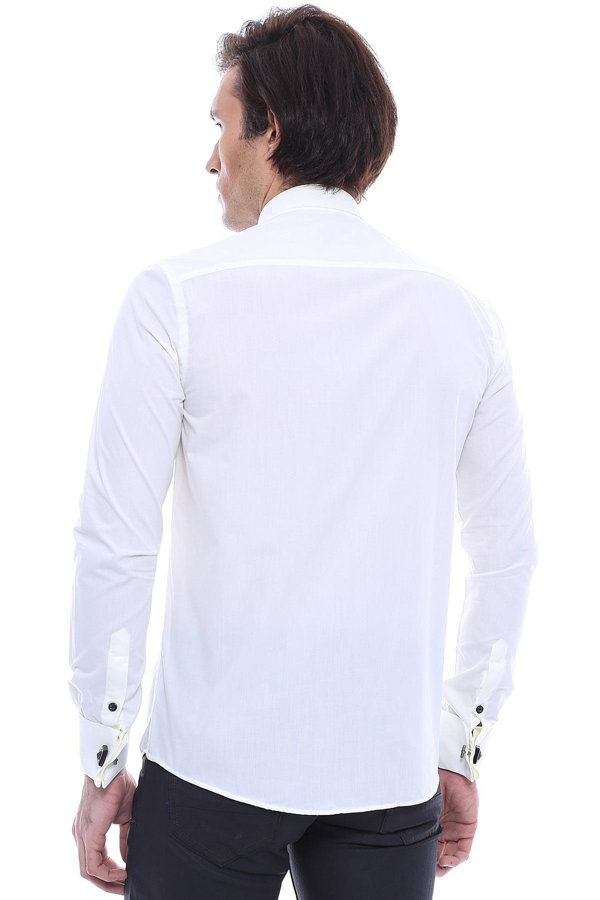 Uzun Kollu Krem Damatlık Gömlek | Wessi