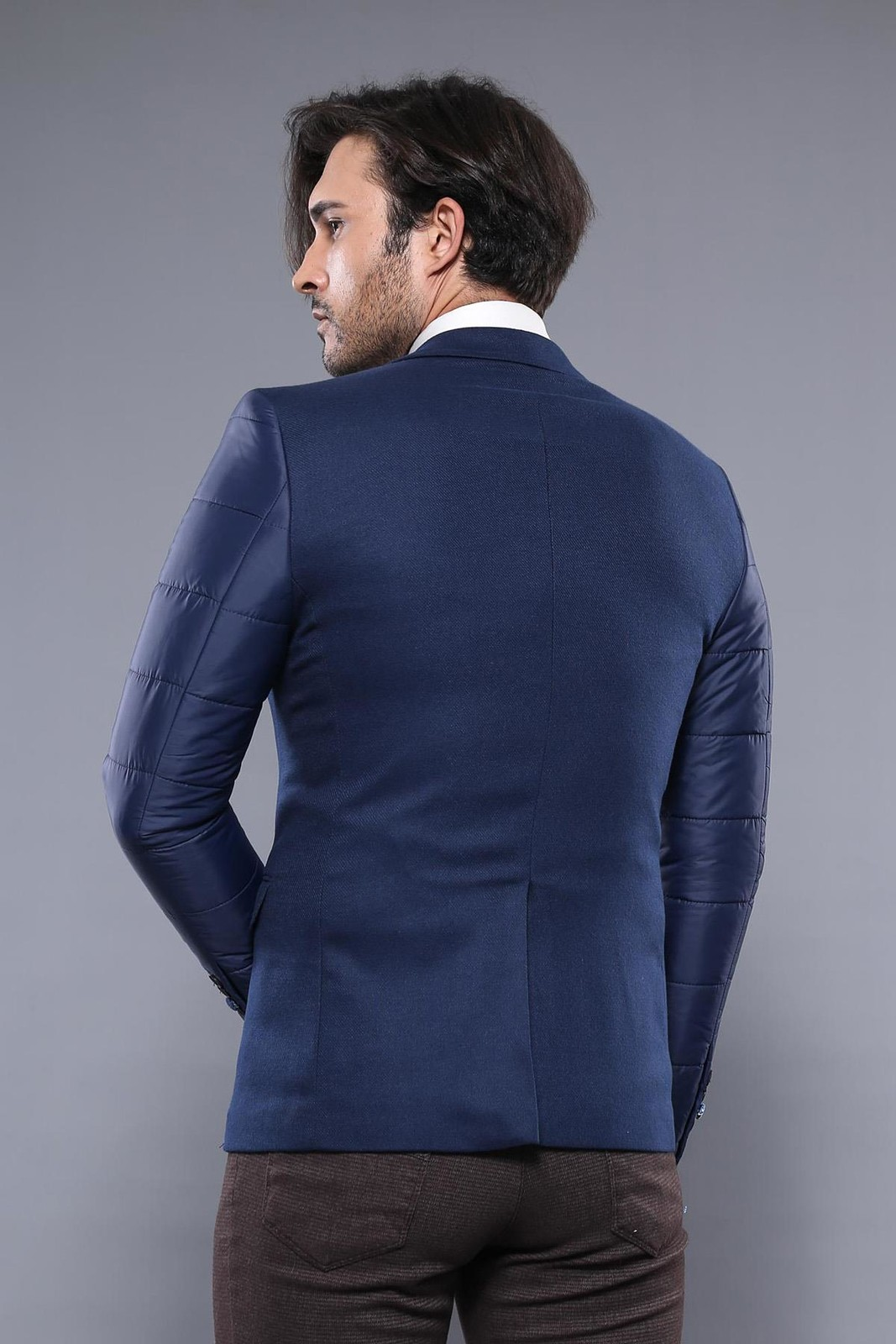 Quilted Sleeve and Back Blue Jacket | Wessi