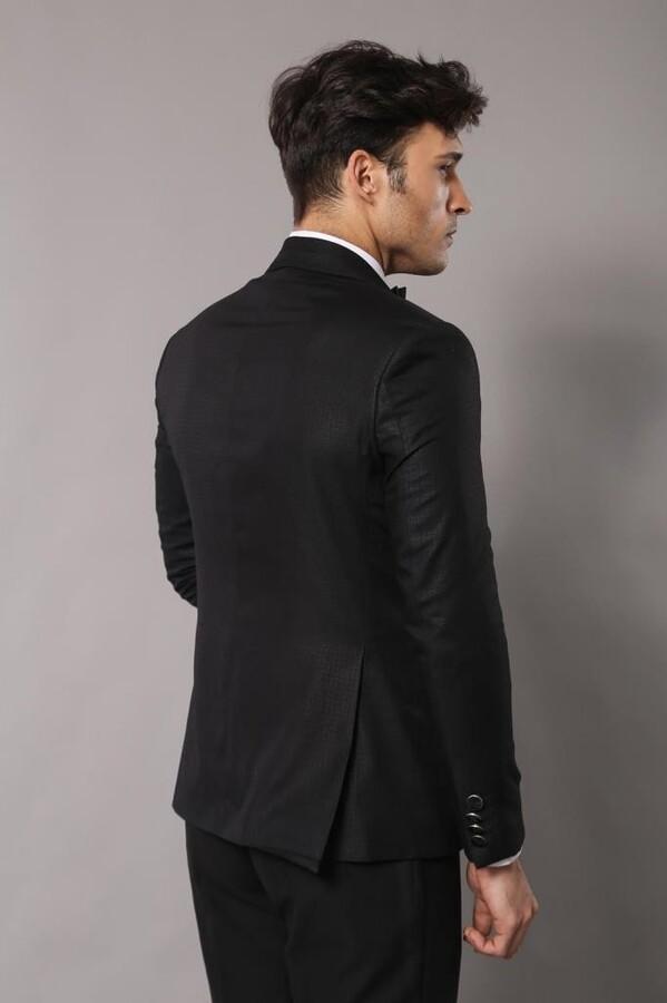 Şal Yaka Desenli Damatlık Takım Elbise | Wessi