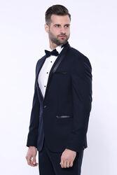 Şal Yaka Koyu Lacivert Damatlık Takım Elbise | Wessi - Thumbnail