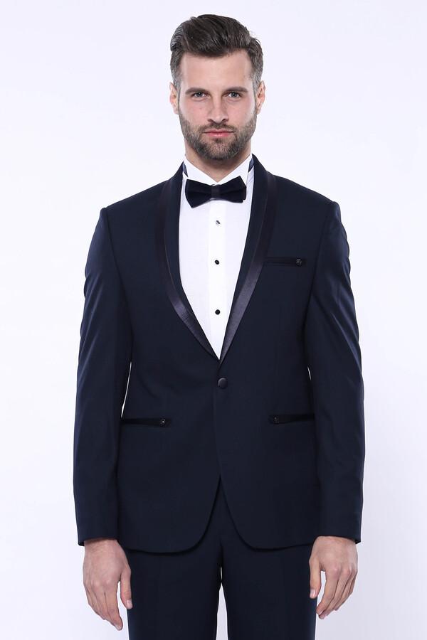 Şal Yaka Koyu Lacivert Damatlık Takım Elbise | Wessi