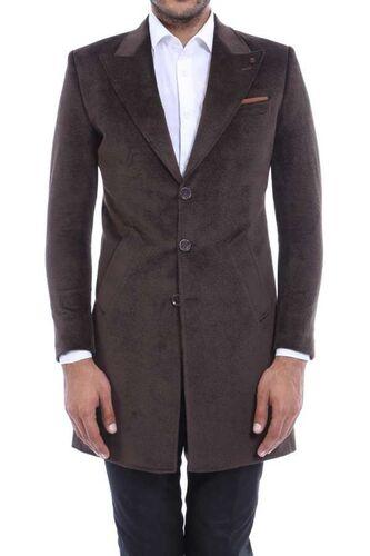 Sivri Yaka Diz Üstü Kahverengi Palto