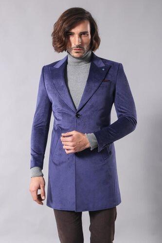 Sivri Yaka Diz Üstü Mavi Palto