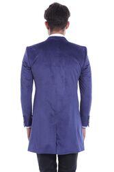 Sivri Yaka Diz Üstü Mavi Palto - Thumbnail