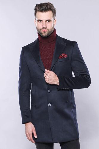 Erkek Lacivert Sivri Yaka Kaşe Kumaş Diz Üstü Kısa Palto