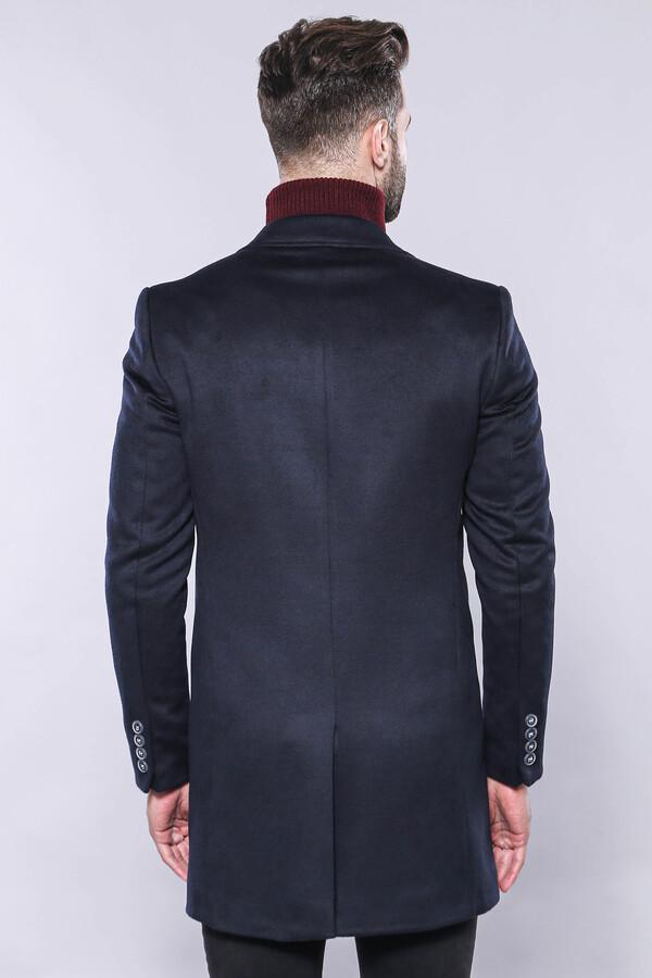 Sivri Yaka Lacivert Diz Üstü Kısa Palto | Wessi