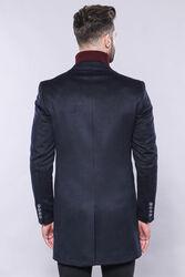 Sivri Yaka Lacivert Diz Üstü Kısa Palto | Wessi - Thumbnail