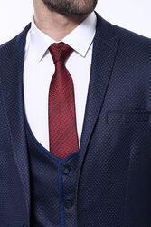 Sivri Yaka Noktalı Lacivert Yelekli Takım Elbise | Wessi - Thumbnail