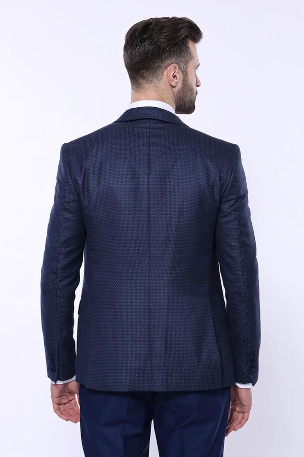 Sivri Yaka Noktalı Lacivert Yelekli Takım Elbise   Wessi