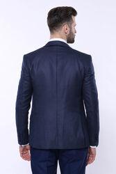 Sivri Yaka Noktalı Lacivert Yelekli Takım Elbise   Wessi - Thumbnail