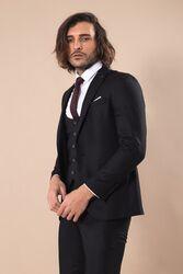 Sivri Yaka Tek Düğmeli Slim Fit Siyah Takım Elbise | Wessi - Thumbnail